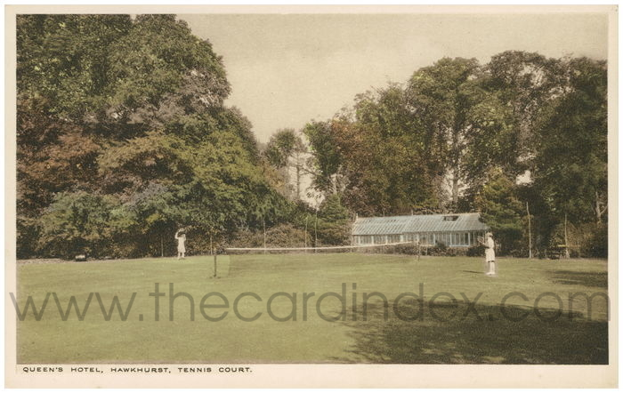 Postcard front: Queen's Hotel, Hawkhurst, Tennis Court