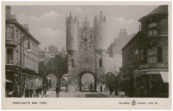Postcard front: Micklegate Bar, York.