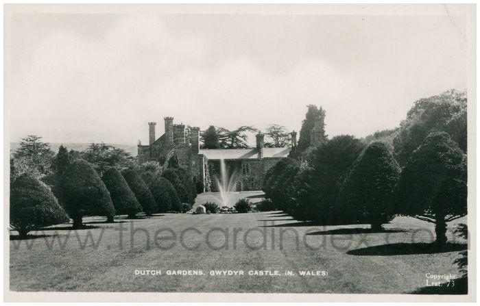 Postcard front: Dutch Gardens. Gwydyr Castle. (N. Wales)