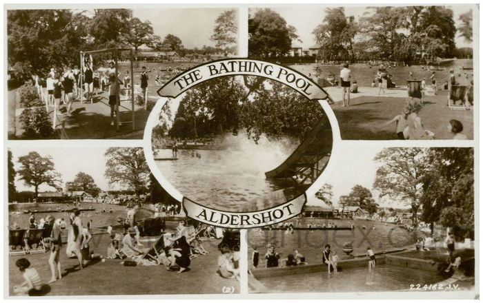 Postcard front: The Bathing Pool Aldershot