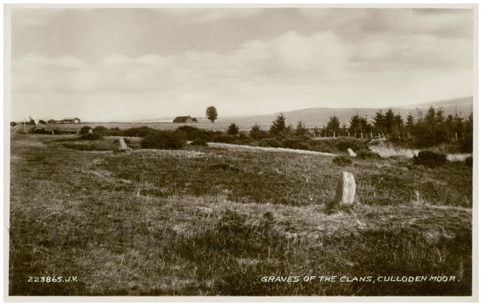 Postcard front: Graves of the Clans, Culloden Moor.