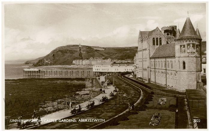 Postcard front: University from Castle Gardens, Aberystwyth