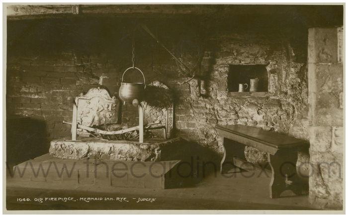 Postcard front: Old Fireplace. Mermaid Inn. Rye.
