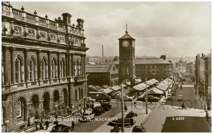 Postcard front: Town Hall and Market Place, Blackburn