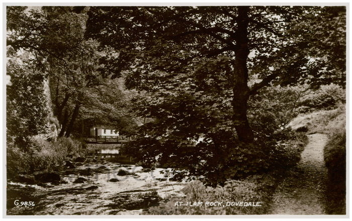 Postcard front: At Ilam Rock, Dovedale.