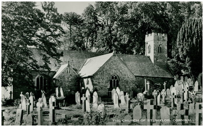 Postcard front: The Church of St. Mylor, Cornwall