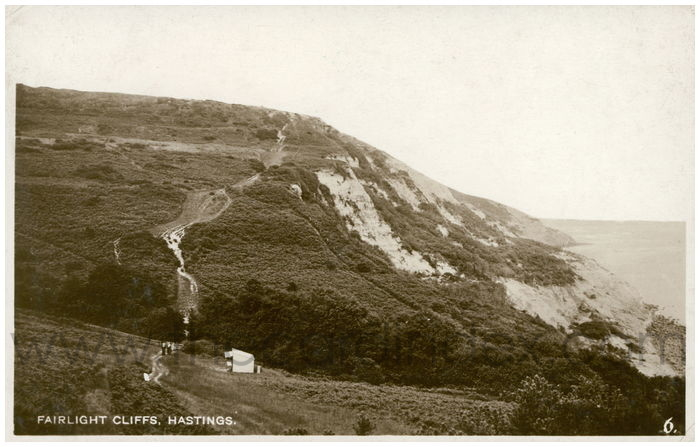 Postcard front: Fairlight Cliffs, Hastings.