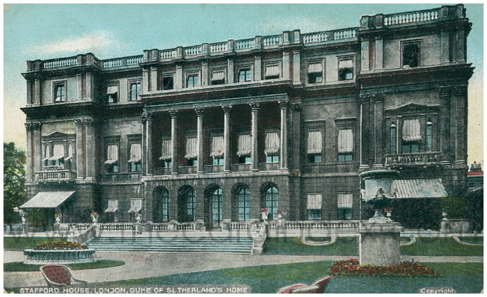 Postcard front: Stafford House, London, Duke of Sutherland's Home.