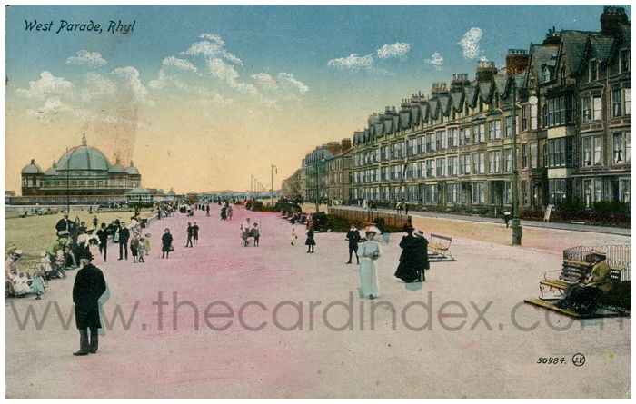 Postcard front: West Parade, Rhyl
