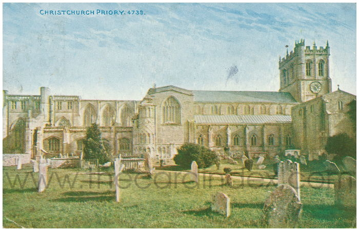 Postcard front: Christchurch Priory.