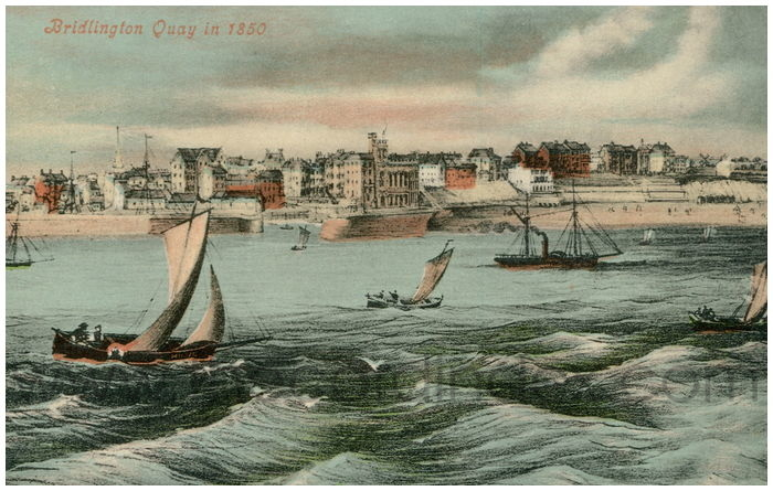 Postcard front: Bridlington Quay in 1850
