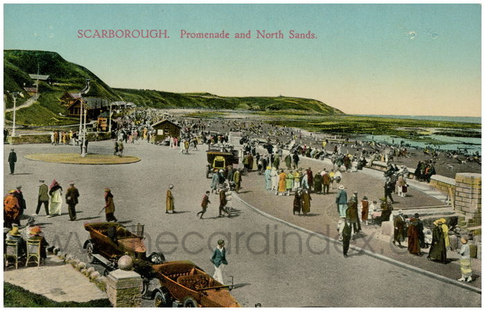 Postcard front: Scarborough. Promenade and North Sands.