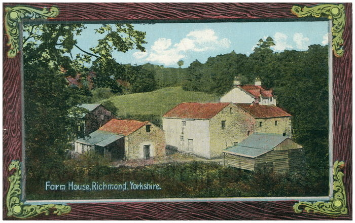 Postcard front: Farm House, Richmond, Yorkshire.