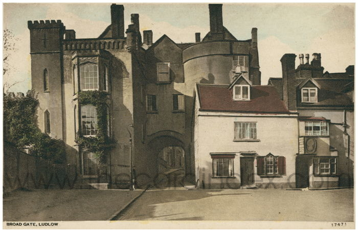 Postcard front: Broad Gate, Ludlow