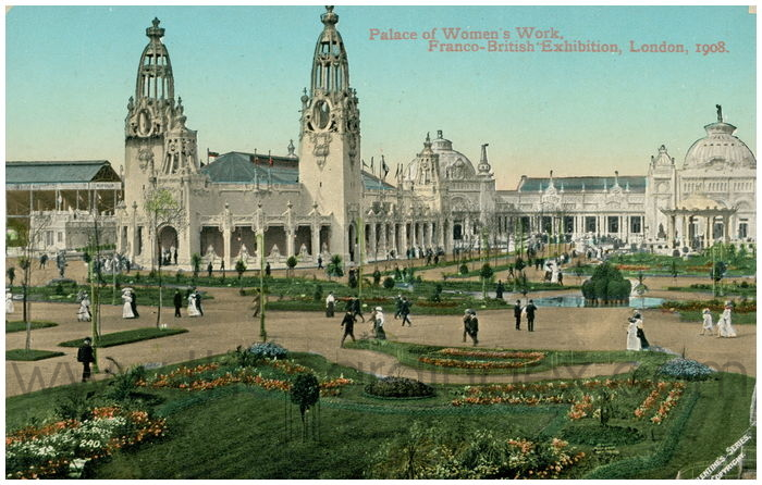 Postcard front: Palace of Women's Work, Franco-British Exhibition, London, 1908