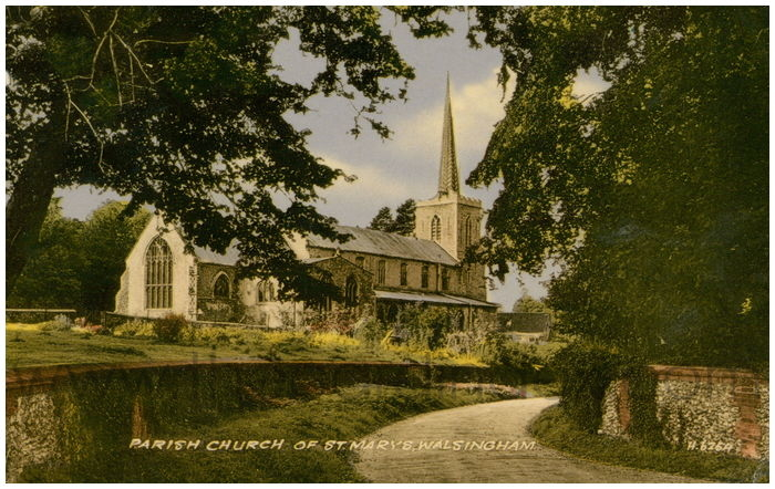Postcard front: Parish Church of St. Mary's, Walsingham.