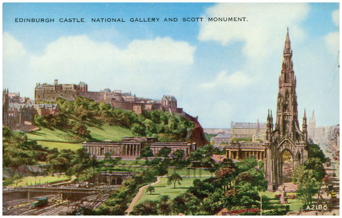 Postcard front: Edinburgh Castle. National Gallery and Scott Monument.