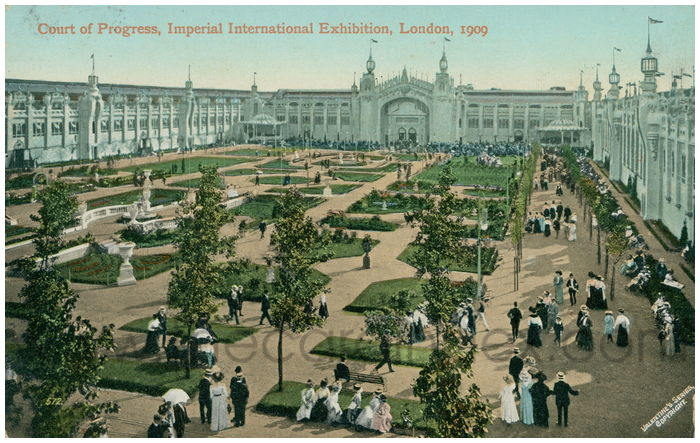 Postcard front: Court of Progress, Imperial International Exhibition, London, 1909