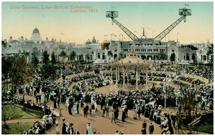 Postcard front: Elite Gardens. Latin-British Exhibition. London, 1912