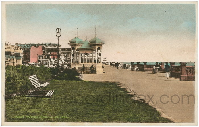 Postcard front: West parade, Bexhill-on-Sea.