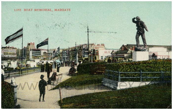 Postcard front: Life Boat Memorial, Margate
