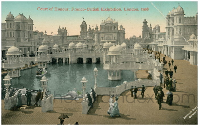 Postcard front: Court of Honour, Franco-British Exhibition, London, 1908