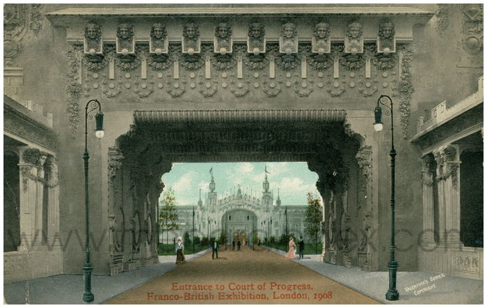 Postcard front: Entrance to the Court of Progress, Franco-British Exhibition, London, 1908
