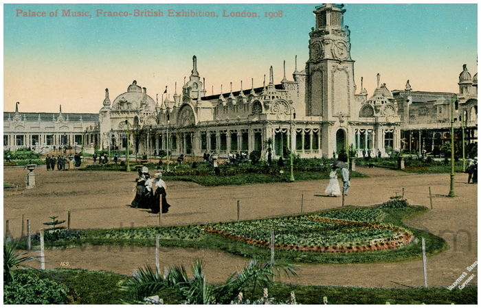 Postcard front: Palace of Music, Franco-British Exhibition, London, 1908.