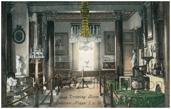 Postcard front: Drawing Room. Osborne House. I.o.W.