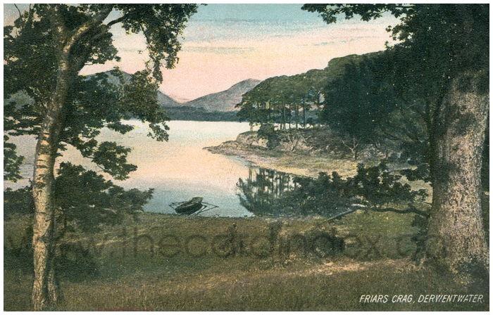 Postcard front: Friars Crag, Derwentwater.