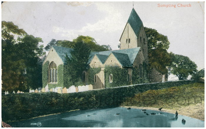 Postcard front: Sompting Church
