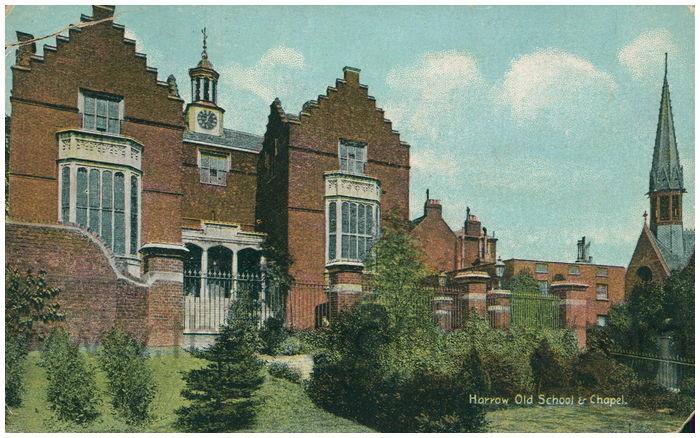 Postcard front: Harrow Old School & Chapel.