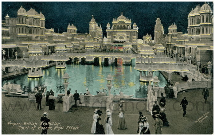 Postcard front: Franco-British Exhibition, Court of Honour, Night Effect