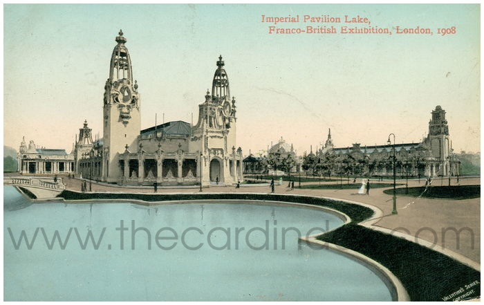 Postcard front: Imperial Pavilion Lake, Franco-British Exhibition, London, 1908