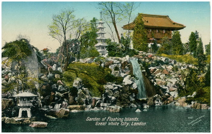 Postcard front: Garden of Floating Islands, Great White City, London