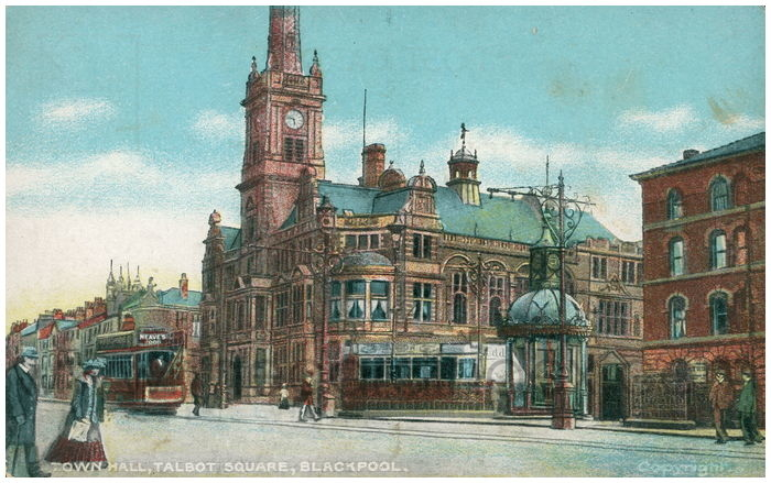 Postcard front: Town Hall, Talbot Square, Blackpool.