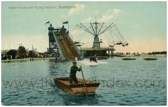 Postcard front: Water Chute and Flying Machine, Southport.