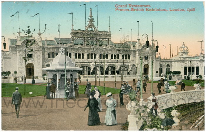 Postcard front: Grand Restaurant, Franco-British Exhibition, London, 1908