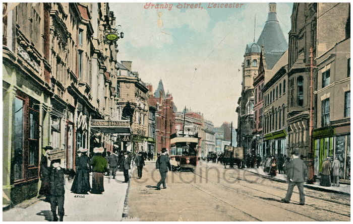 Postcard front: Granby Street, Leicester