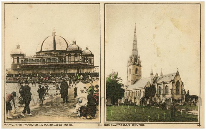 Postcard front: Rhyl. The Pavilion & Paddling Pool Bodelwyddan Church