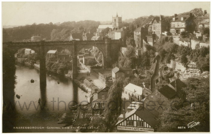 Postcard front: Knaresborough - General View from the Castle.
