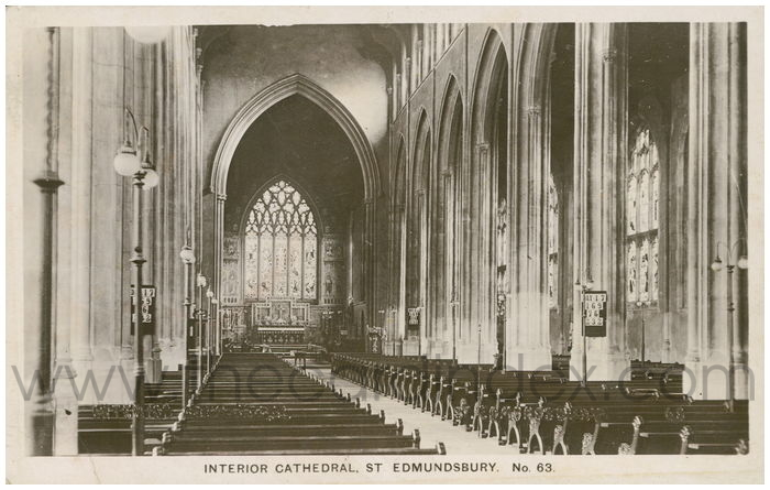 Postcard front: Interior Cathedral, St Edmundsbury.