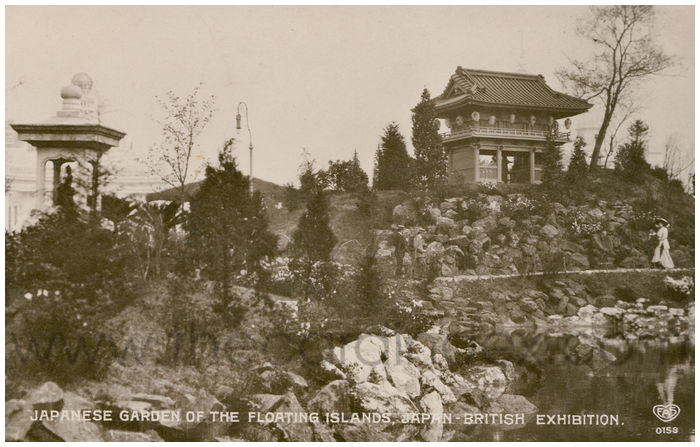 Postcard front: Japanese Garden of the Floating Islands, Japan-British Exhibition.