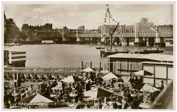 Postcard front: The '51 Bar, South Bank Exhibition Festival of Britain 1951.