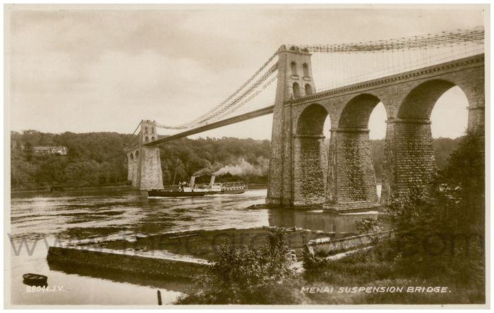 Postcard front: Menai Suspension Bridge.