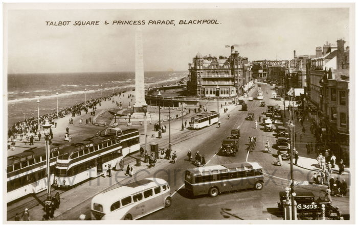 Postcard front: Talbot Square and Princess Parade, Blackpool.