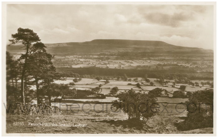 Postcard front: Penhill from the Shawl, Leyburn.