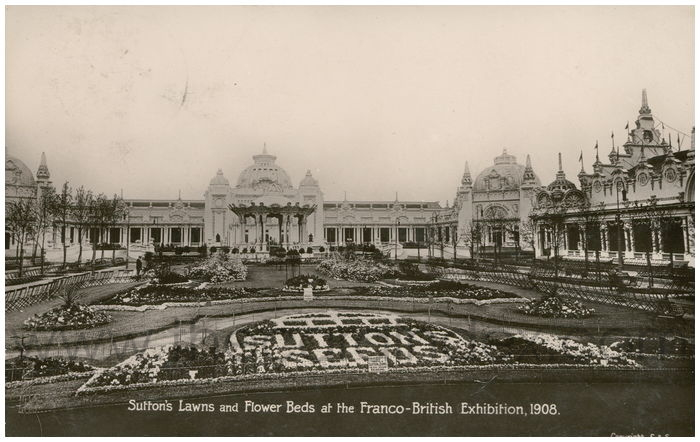 Postcard front: Sutton's Lawns and Flower Beds at the Franco-British Exhibition, 1908.