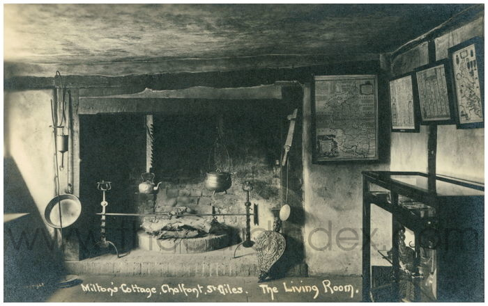 Postcard front: Milton's Cottage, Chalfont St. Giles. The Living Room.