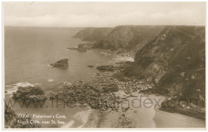Postcard front: Fisherman's Cove, North Cliffs, near St. Ives